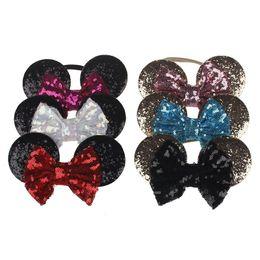 Headbands Bow Australia - Baby Gold Sequin Bow Headband Toddler Nylon Headbands Glitter Hair Bows Baby Girl Cartoon Ears Headband Hair Band