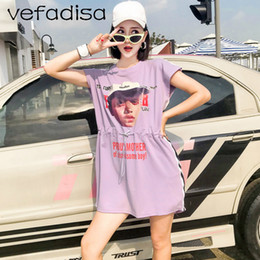 $enCountryForm.capitalKeyWord Australia - Vefadisa Letters Print Shirt for Women 2018 Loose Tops and Tees Short Sleeve Summer Purple T Shirt Plus Size Long AD1949