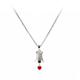$enCountryForm.capitalKeyWord NZ - Silver Necklaces Europe And America Pure Silver Simple Heart Clavice Chain Christmas Sales Love Bell Necklace Fasion Simple