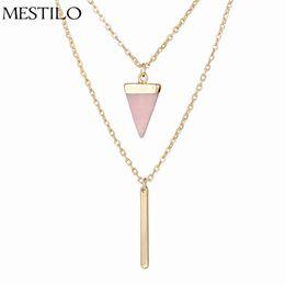 e375464d85f4 MESTILO Verano Bohemia Sexy Gargantilla Collares Dos Capas Cadena de Oro Triángulo  Negro Rosa Piedra Metal Bar Collar Colgante Para Las Mujeres