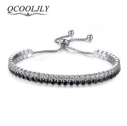 Ingrosso QCOOLJLY Classic Bling Hip Hop Bracciale in argento 2 fila strass Bracciale catena Bling cristallo bracciale donne Drop Shipping