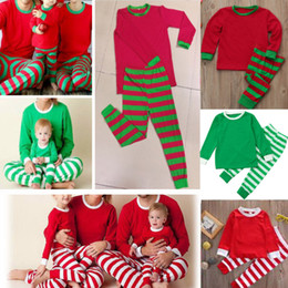 a0206e5f0d Xmas Kids Adult Family Matching Pajamas Sets Christmas Striped Reindeer  Sleepwear Nightwear Sleepcoat Child Parent Suit HH7-1682