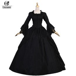 girls medieval dresses 2019 - ROLECOS Black Lolita Long Dress For Women Party Lace Long Sleeve Gothic Lolita Dress Girls Medieval Period Victoria 2018