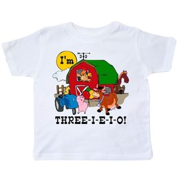 Inktastic THREE I E O Toddler T Shirt 3rd Birthday Farm Barn Cow Pig Horse For Funny Free Shipping Unisex Casual Tee Gift