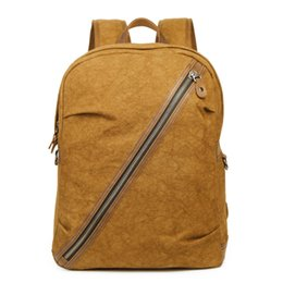 Square Backpacks UK - New fashion men s shoulder canvas bag personality  diagonal zipper square canvas bag f5969c9cb6cba
