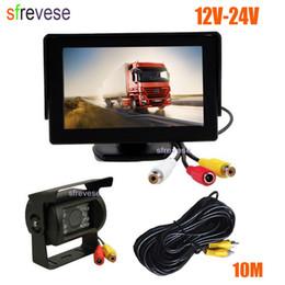 """Waterproof Backup Monitor NZ - 4.3"""" Car LCD Monitor + Waterproof 18 LED IR Night Vision Reverse Parking Backup Camera Rear View Kit 10M cable 12V-24V"""