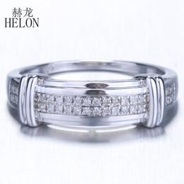 6da938ae4691 HELON 925 Anillo de Plata de Ley 100% Genuino Anillo de Diamante Natural  Para los Hombres de Compromiso Regalo de Fiesta de Aniversario de Moda  Joyería Fina