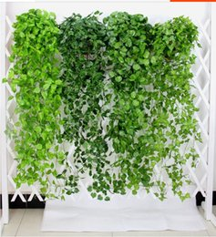 fake vines decoration UK - Green Artificial Vine Leaves Artificial Plants Leaves Fake Hanging Vine Plant Garden Wall Hanging Decoration AVL01-04