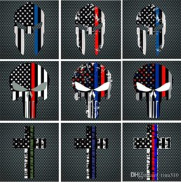 Flags For Cars Windows NZ - Blue Line Flag Decal - 10*15 CM American Flag skull head Sticker for Cars and Trucks - Wall Window Stickers Decorative Stickers I241