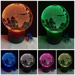 bedroom night lamp Canada - New Romantic Novelty LED Bulbing Earth Globe Map Visual Night Light Bedroom Table RGB Colorful Gradient Atmosphere Illusion Lamp Child Gifts