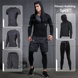 Discount basketball jogging suits - Brand Running Set 2018 Mens Sports Suits Fitness Training Sportswear Compression Tights Basketball Jogging Suits Gym Clo