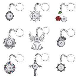 Moda bellezza fiori angolo croce strass charms snap portachiavi fit 18mm bottoni automatici gioielli fai da te XL0067