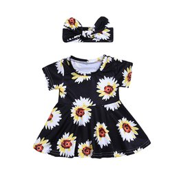 $enCountryForm.capitalKeyWord UK - 2018 Summer Baby Short Sleeve Floral Print Dress Princess dress+ Hair Band Children Clothes for 6M-24M Party Prom Pearl Dress