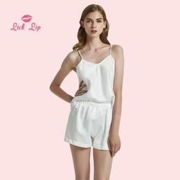 545dc0aafa Lick Lip Spaghetti Straps Women Pajamas Sets White Black Satin Summer NIght  Suit Ladies V Neck Pyjama Set Silk Pajama SWC3224-47