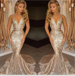 Celebrity oCCasions dresses online shopping - Arabic Prom Party Evening Dresses Mermaid V Neck Sexy African Long Vestidos Special Occasion Dresses Formal Wear Celebrity Gowns K18