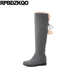 93d4da10 Botas de piel barata online-Gris largo 11 Lace Up Over The Knee Flat Fur