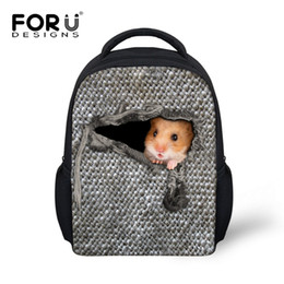Chinese  FORUDESIGNS Cute Printed Mouse School Bags for Boys Grey 12inch Boys Primary School Bags Cool Lile Children Bookbags manufacturers