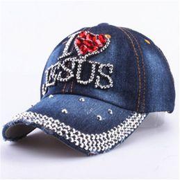 66488bc798f Jesus Caps Canada - Christian I Love Jesus Heart Crystal baseball strapback  hat sports hip hop