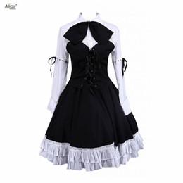 Lolita vestido ternos de algodão branco mangas compridas lolita blusa e saia preta do punk bonito ternos meninas partido clube xs-xxl venda por atacado