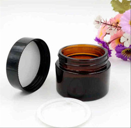 Free shipping 20g 30g 50g brown glass cream jar high quality 30ml cosmetic mudpack container pot with easy screw lid from makeup 5g containers manufacturers