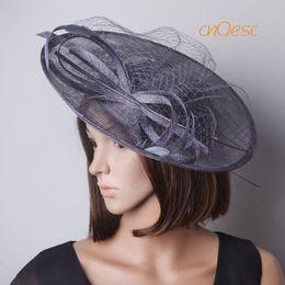 ad3a0efa779 Dark silver saucer fascinator sinamay fascinator formal hat for Races  Wedding Mother s day derby
