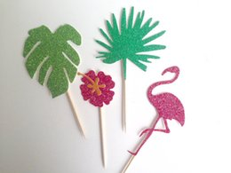 $enCountryForm.capitalKeyWord UK - glitter Tropical Palm Leaf, Hibiscus flamingo Cupcake Toppers birthday tropical Wedding baby Shower Engagement Party decor