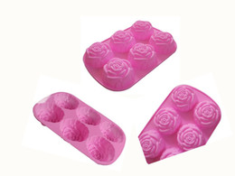heart soap mould 2019 - 6pcs Set Roses Flower Silicone Cake Mold Cake Tool Heart Gelatin Soap Jelly Mold Food Grade Case Kitchen Tools Silicone