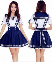 f7977b8d3b8 Envío gratis Nueva lencería sexy cosplay Halloween Lolita Traje de Marinero  japonés Estudiante COS Anime Costume Blue Navy Princess Dress Falda Stude
