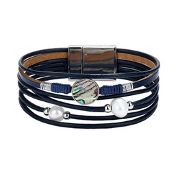 $enCountryForm.capitalKeyWord NZ - Vintage Simulated Pearl Multiple Layers Leather Bracelets Bangles For Women New Charm Bracelet Party Jewelry Friendship Gift YMCJB021