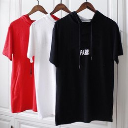 Little Hats Australia - 18ss Summer Europe Paris Fashion Men Luxury Red Black White little Broken Hole Hats T-shirt Pure Cotton Hooded shirt Casual Women Tee shirt