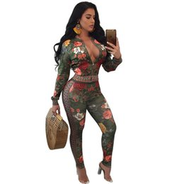$enCountryForm.capitalKeyWord UK - Autumn Winter Two Piece Sets Tracksuit For Women Long Sleeve Flower Print Zipper Jackets And Pants Sweat Outfit Suits Female