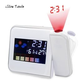 Color weather CloCk online shopping - New Design Alarm Clock Home Projection Digital Weather Black LED Alarm Clock Snooze Color Display LED Back Temperature Clock