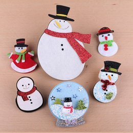 Wholesale 20pcs Handmade Wool Felt Button Stickers Glitter Bling Christmas Snowman Craft Sticks Fit Girl Women Hair Jewelry Headband