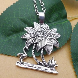 flower bird pendant necklace Australia - New 10pcs lot Ancient Silver Bird Peacock Coconut Tree Charm Pendant Choker Necklace Handmade Couple jewelry Unique Gifts