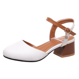 f80576300c3 SJJH 2018 Woman Sandals with Chunky Heel and Round Toe Elegant Working Chic  Shoes for Fashion Woman with Large Size Available A177