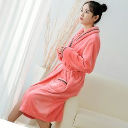 Women Flannel Bath Robe Sleepwear 2018 Autumn Winter Plush Bathrobe Solid Thicken  Warm Female Robe Nightgown ddd6ed6e5