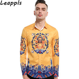 Chinese Style Dress Shirt Canada - leappls Tuxedo Shirts Men Long sleeve Fashion Chinese Style Vintage Print Tops casual shirts mens camiseta hombre 2018 new