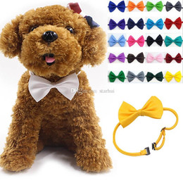 Wholesale Adjustable Pet Dog Bow Tie Neck Accessory Necklace Collar Puppy Bright Color Pet Bow Mix Color WX G15