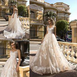 $enCountryForm.capitalKeyWord Canada - Cascading Ruffles Wedding Dress Speghetti Tiers A-Line Sheer Neck Tulle Lace Backless Court Train Bridal Dresses