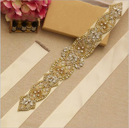 Wholesale Wedding Belt With Gold Crystal Flower Ribbons Rhinestones Bridal Dresses Sashes Belt For Wedding Women Accessories