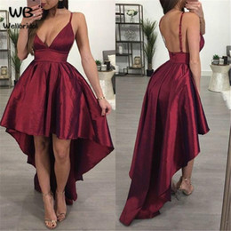 AfricAn weArs dresses online shopping - Stunning Spaghetti Straps Arabic Homecoming Dresses Burgundy High Low Satin African Short Prom Dress Cocktail Graduation Party Club Wear