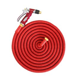 China Wholesale 50FT Multipurpose quintuple expandable Magic Garden Threaded Hose Washing Car bronze water gun Watering Kits supplier expandable hose 50ft suppliers