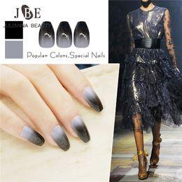 $enCountryForm.capitalKeyWord NZ - 24pcs Pre Design Fake Nails Ballerina French Acrylic False Nails Glitter Nail Tips For Nail Art Fashion Fingernail Black Color