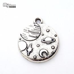 Disc Bracelet Australia - my shapeZinc Alloy Round Disc floating Charms Celestial Body Planet Moon And Star Pendants Necklace&Bracelet Jewelry 20pcs