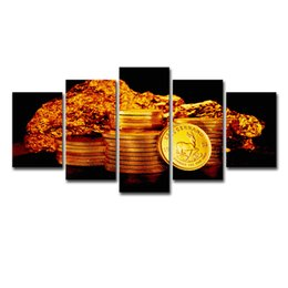 $enCountryForm.capitalKeyWord UK - Modern Pictures HD Printed Canvas Frame Painting Home Wall Art Photo Decor 5 Panels Gold Coins Landscape Modular Poster
