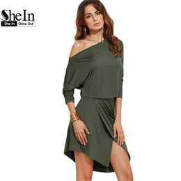 ec2ec7a31b7685 SheIn Army Green Women Autumn Party Dresses Long Sleeve Ladies Sexy Club  Dress 2016 Off Shoulder Asymmetric Overlap Dress