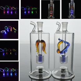Cooling hoses online shopping - Cool Mini Oil Rigs LED Glass Dab Rigs inches Bongs Glass Water Pipes Percolator mm Bong Oil Rig Water Smoking Bubbler with Banger Hose