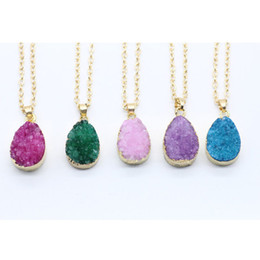 Charms Wire Wrapping Australia - Wholesale New Irregular Druzy Crystal Quartz Pendant With Metal Wire Wrapped Rough Stone Multi Color Pendant Necklace Gift For Women