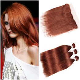 dark auburn red hair color NZ - Copper Red Peruvian Virgin Human Hair Weaves with Frontal Straight #33 Dark Auburn 13x4 Full Lace Frontal Closure with 3 Bundles Deals
