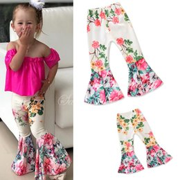 flared floral trousers Australia - 2018 Fashion kids Children Floral Flare Girls Trousers Baby Girls Flare pants children pantyhose tights long pants bell bell-bottoms Z11